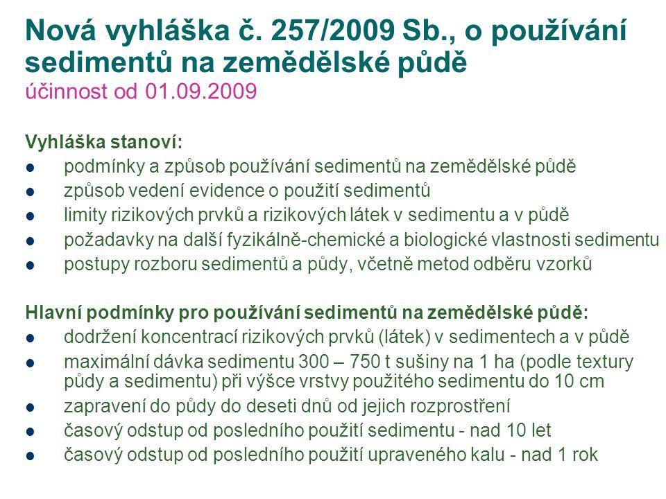 Nová vyhláška č. 257/2009 Sb., o používání sedimentů na zemědělské půdě