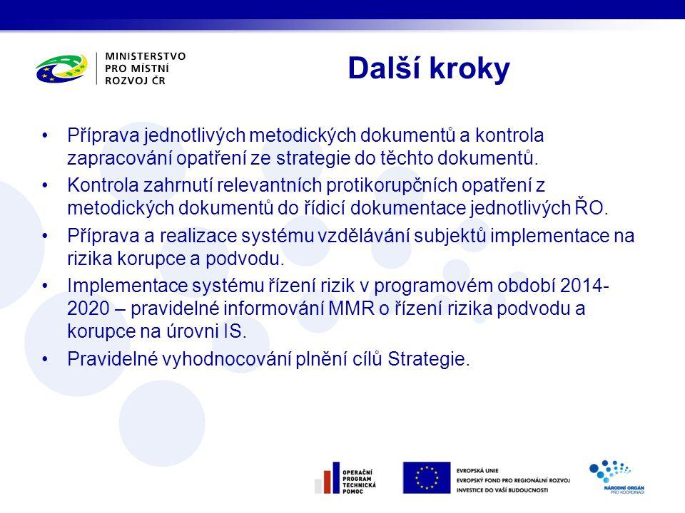 Další kroky Příprava jednotlivých metodických dokumentů a kontrola zapracování opatření ze strategie do těchto dokumentů.