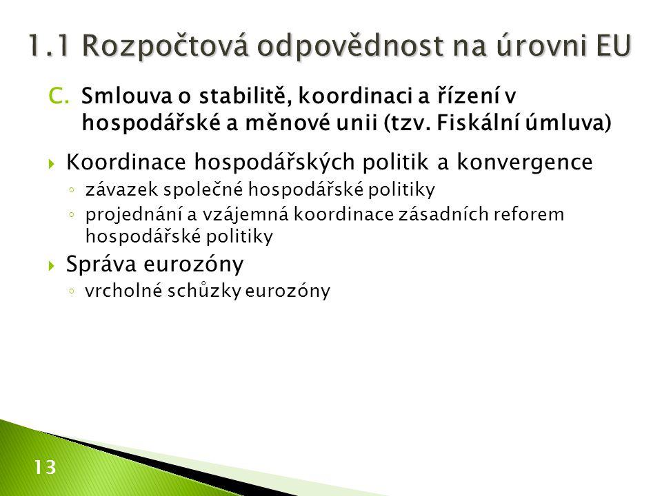 1.1 Rozpočtová odpovědnost na úrovni EU