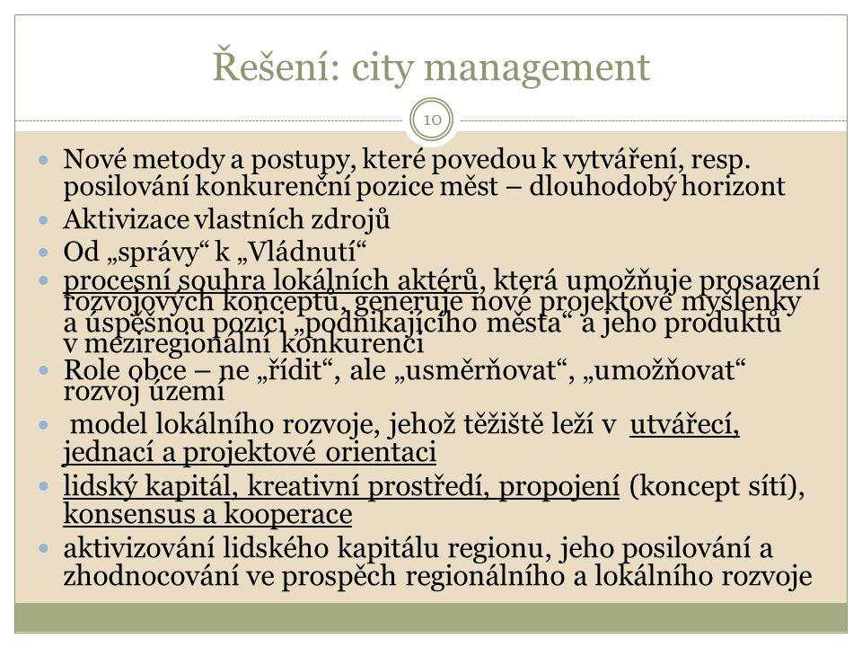 Řešení: city management