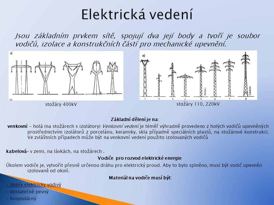 Elektrická vedení Jsou základním prvkem sítě, spojují dva její body a tvoří je soubor vodičů, izolace a konstrukčních částí pro mechanické upevnění.