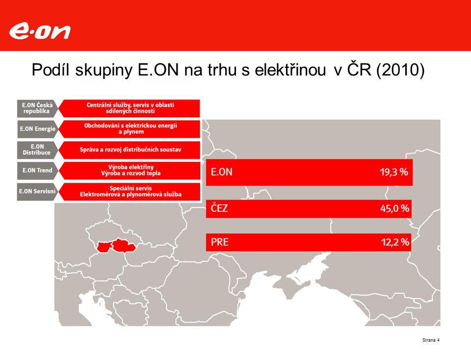 Podíl skupiny E.ON na trhu s elektřinou v ČR (2010)