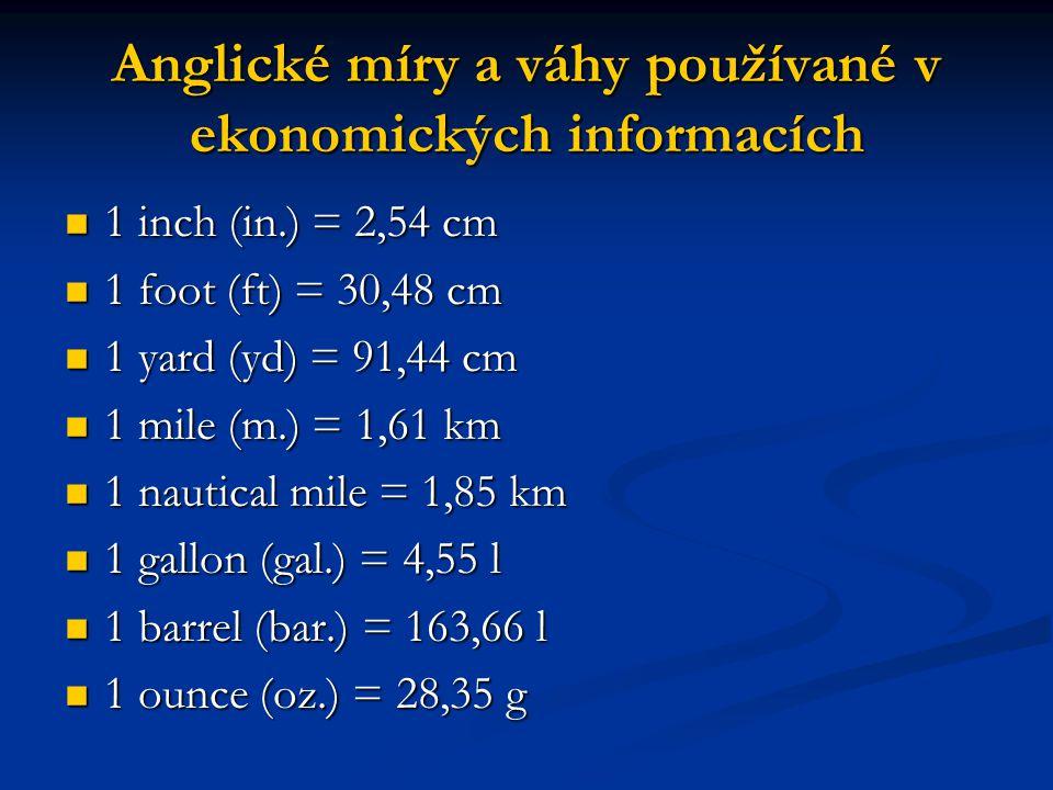 Anglické míry a váhy používané v ekonomických informacích
