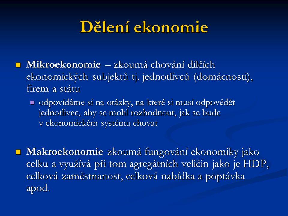 Dělení ekonomie Mikroekonomie – zkoumá chování dílčích ekonomických subjektů tj. jednotlivců (domácnosti), firem a státu.