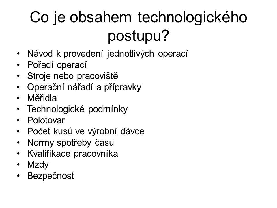 Co je obsahem technologického postupu