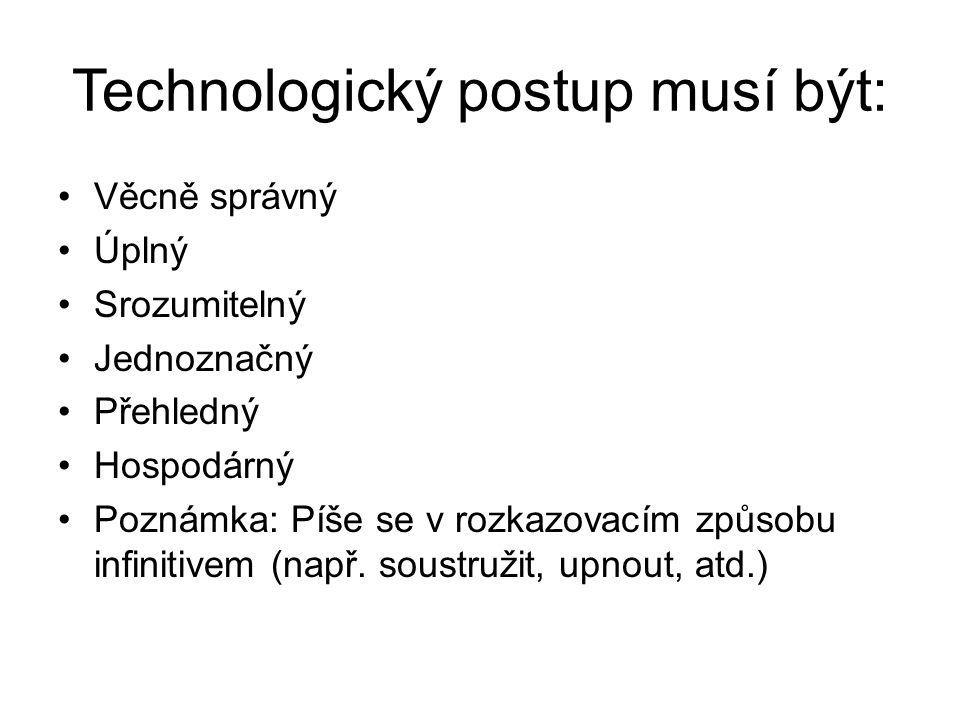 Technologický postup musí být: