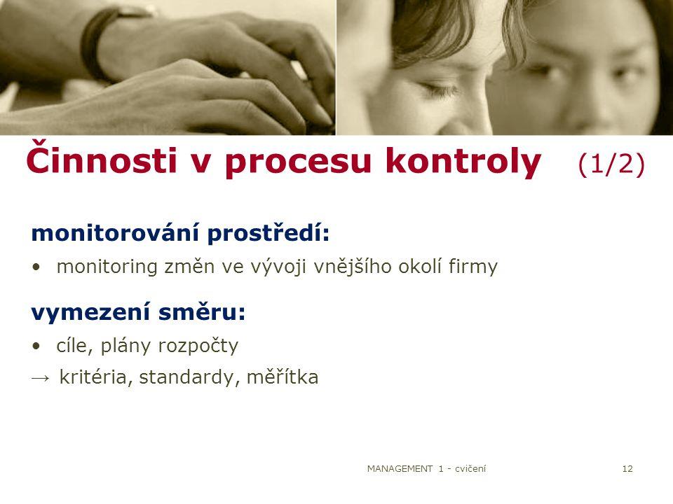 Činnosti v procesu kontroly (1/2)