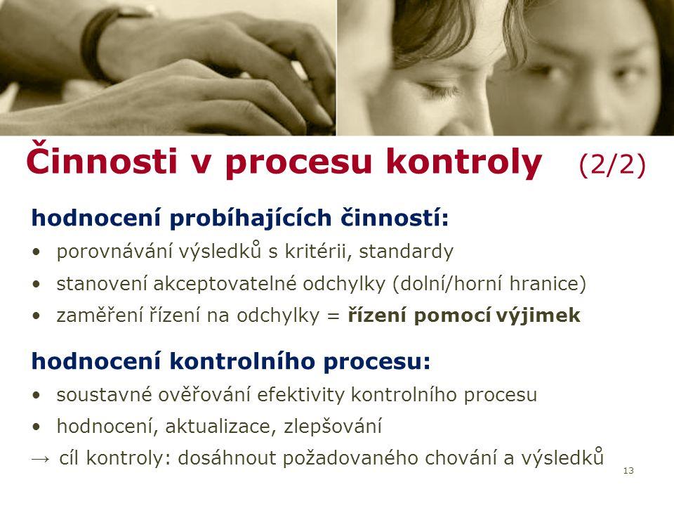 Činnosti v procesu kontroly (2/2)