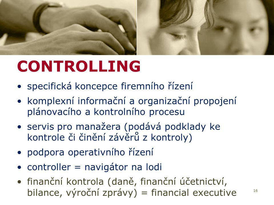 CONTROLLING specifická koncepce firemního řízení