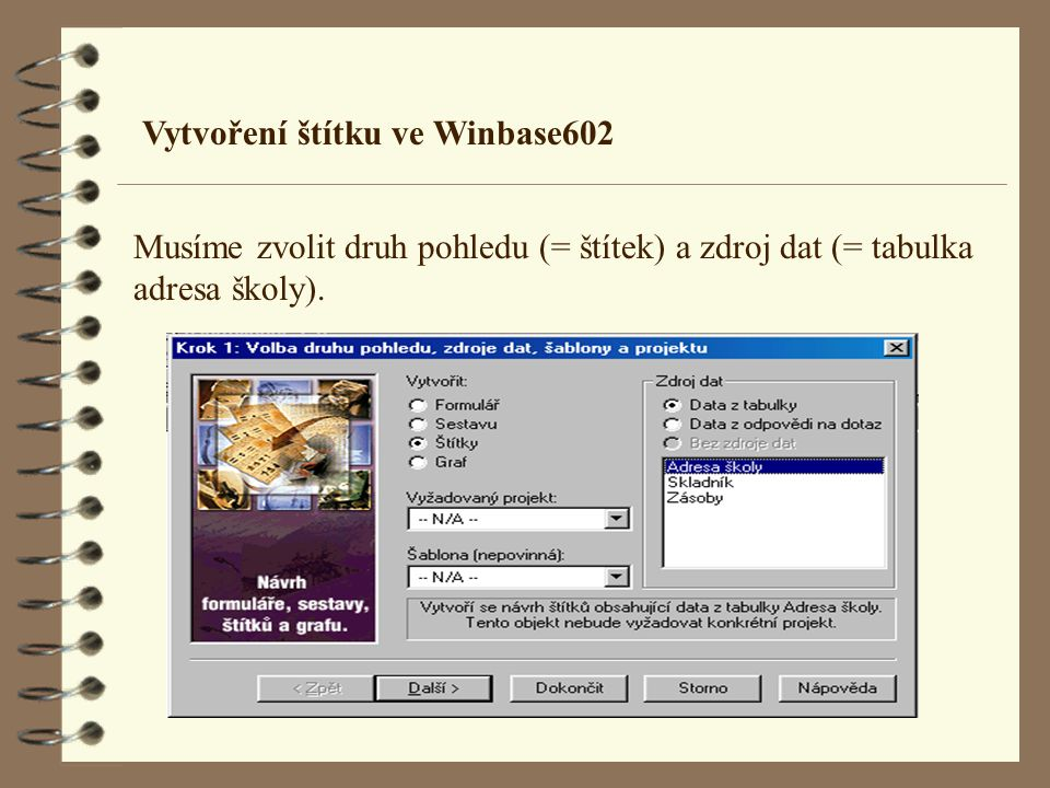 Vytvoření štítku ve Winbase602