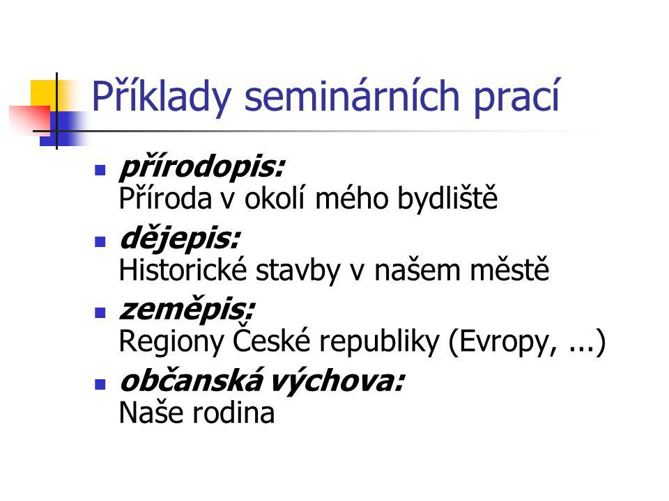 Příklady seminárních prací