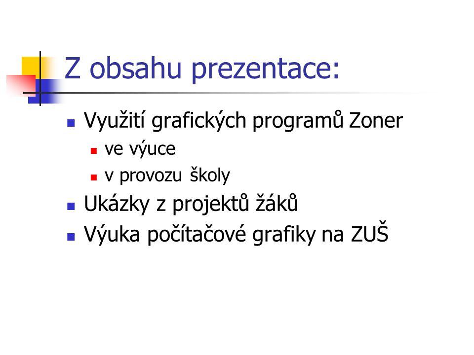 Z obsahu prezentace: Využití grafických programů Zoner