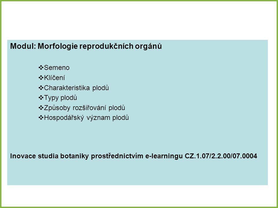 Modul: Morfologie reprodukčních orgánů