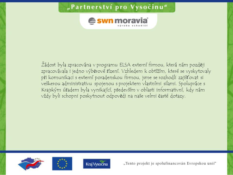 Žádost byla zpracována v programu ELSA externí firmou, která nám později zpracovávala i jedno výběrové řízení.