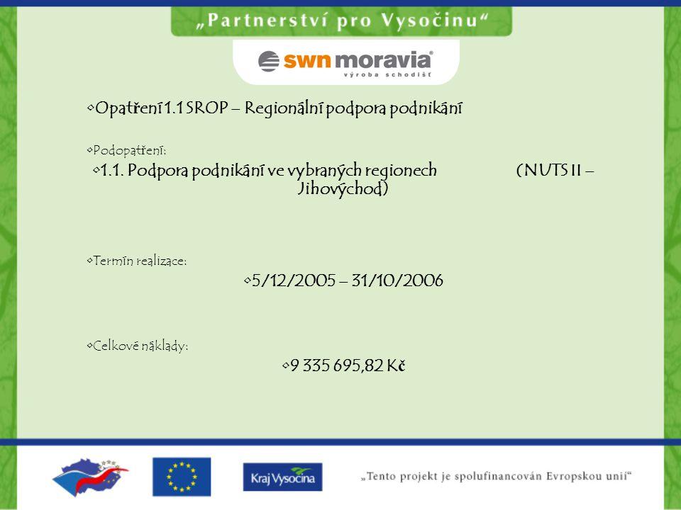 1.1. Podpora podnikání ve vybraných regionech (NUTS II – Jihovýchod)