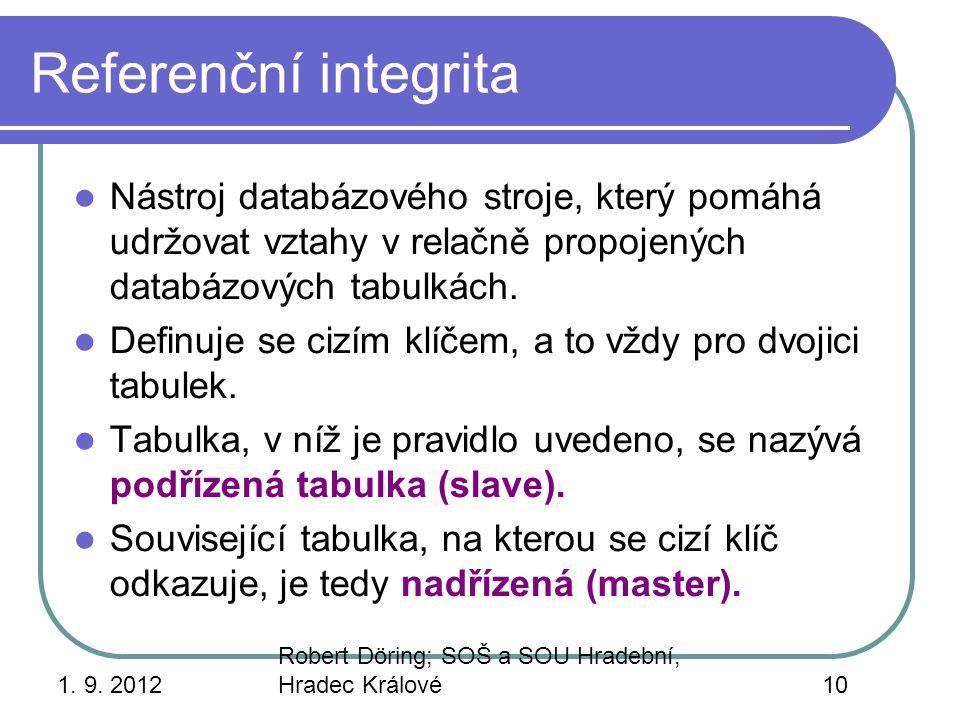 Referenční integrita Nástroj databázového stroje, který pomáhá udržovat vztahy v relačně propojených databázových tabulkách.