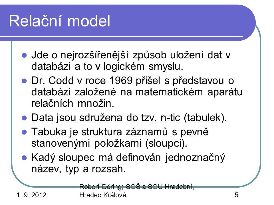 Relační model Jde o nejrozšířenější způsob uložení dat v databázi a to v logickém smyslu.