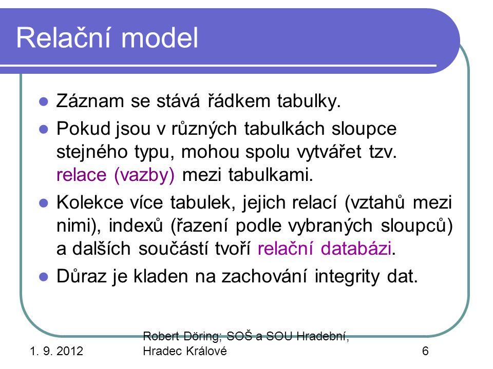 Relační model Záznam se stává řádkem tabulky.