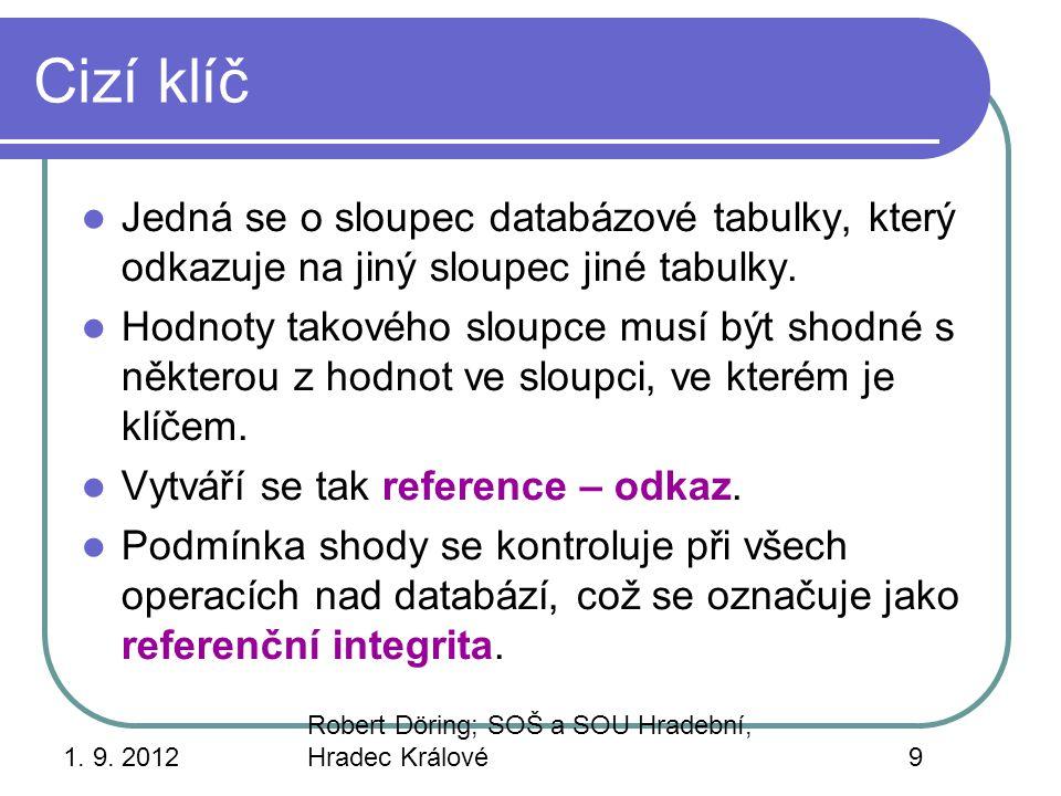 Cizí klíč Jedná se o sloupec databázové tabulky, který odkazuje na jiný sloupec jiné tabulky.
