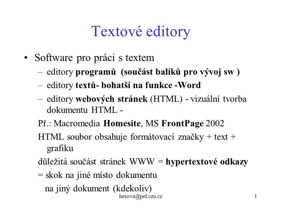 Textové editory Software pro práci s textem
