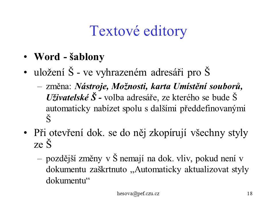 Textové editory Word - šablony