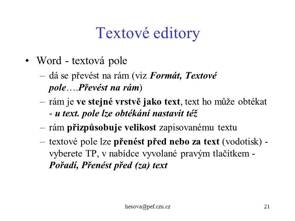 Textové editory Word - textová pole