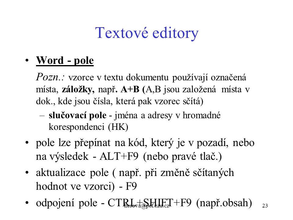 Textové editory Word - pole