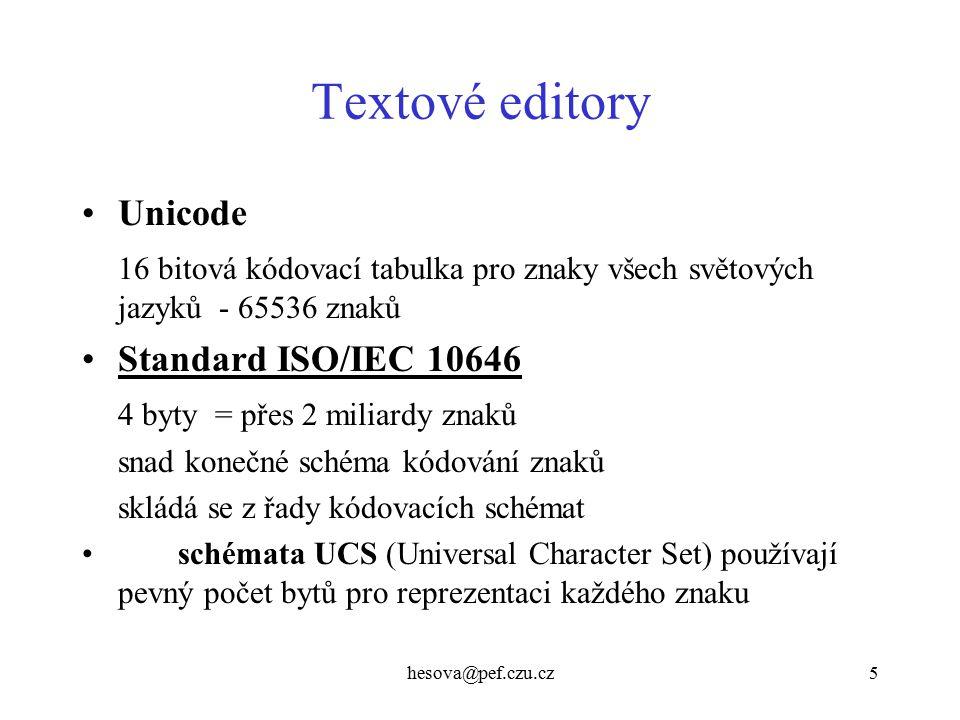 Textové editory Unicode