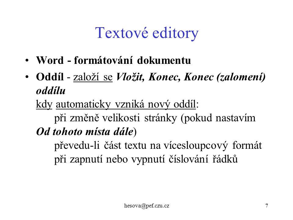 Textové editory Word - formátování dokumentu