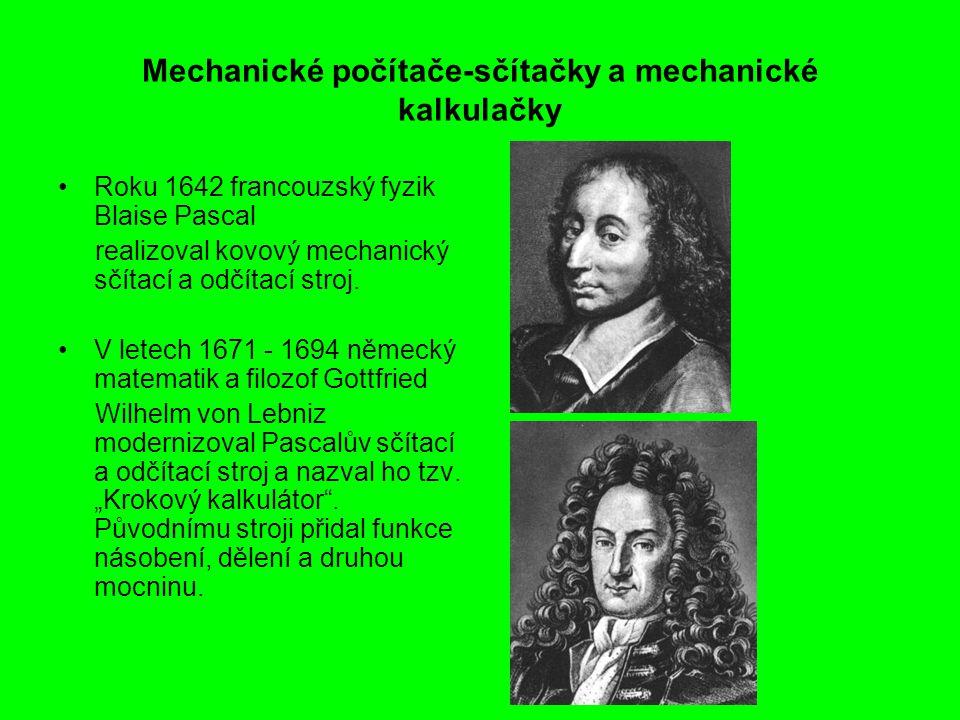 Mechanické počítače-sčítačky a mechanické kalkulačky