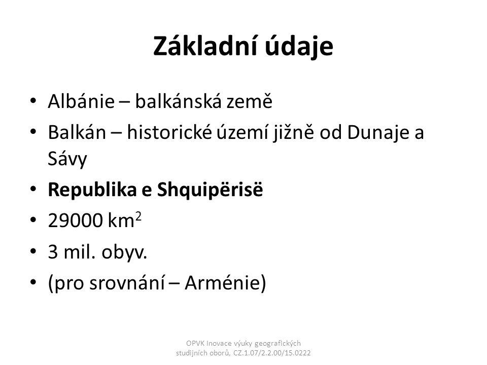 Základní údaje Albánie – balkánská země