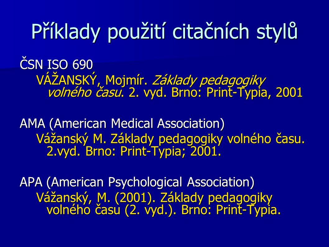 Příklady použití citačních stylů