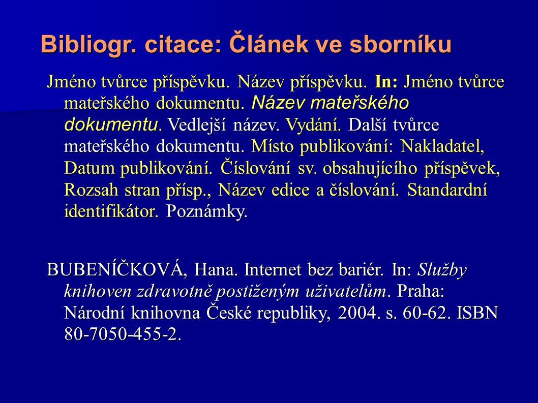 Bibliogr. citace: Článek ve sborníku