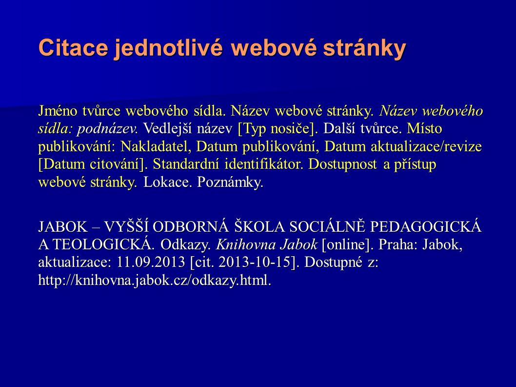 Citace jednotlivé webové stránky