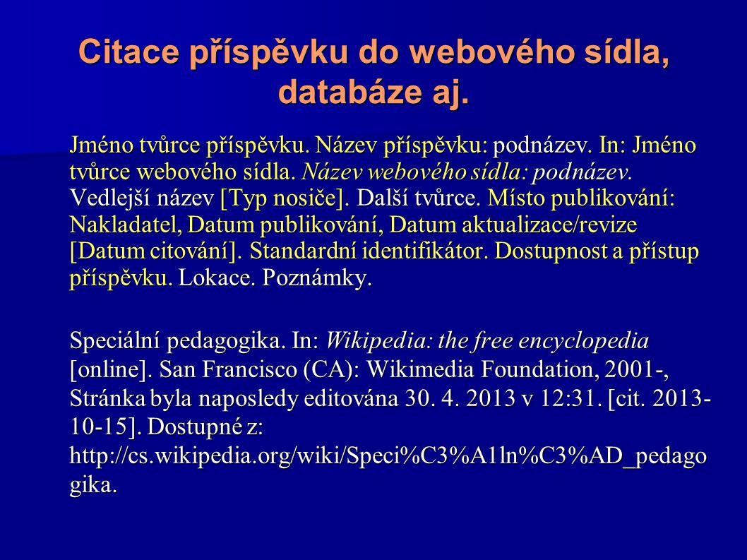 Citace příspěvku do webového sídla, databáze aj.