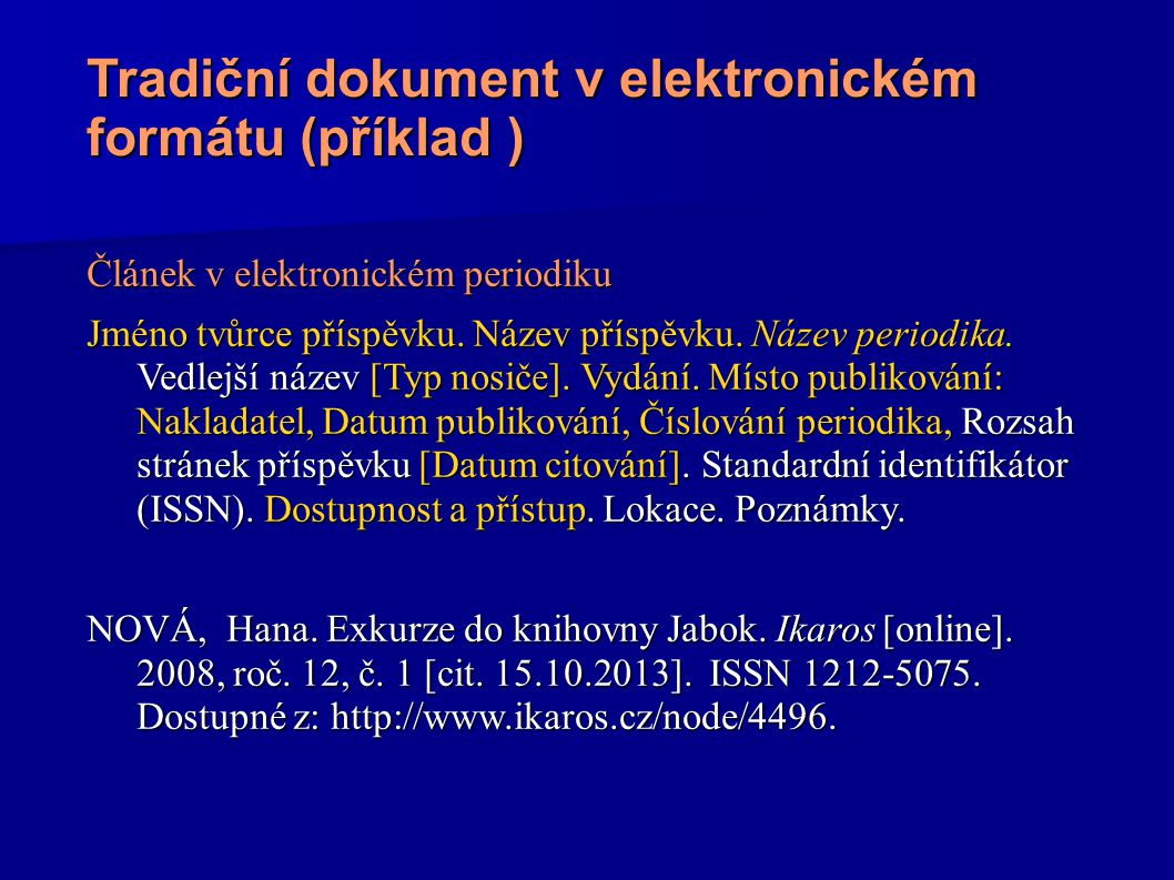 Tradiční dokument v elektronickém formátu (příklad )