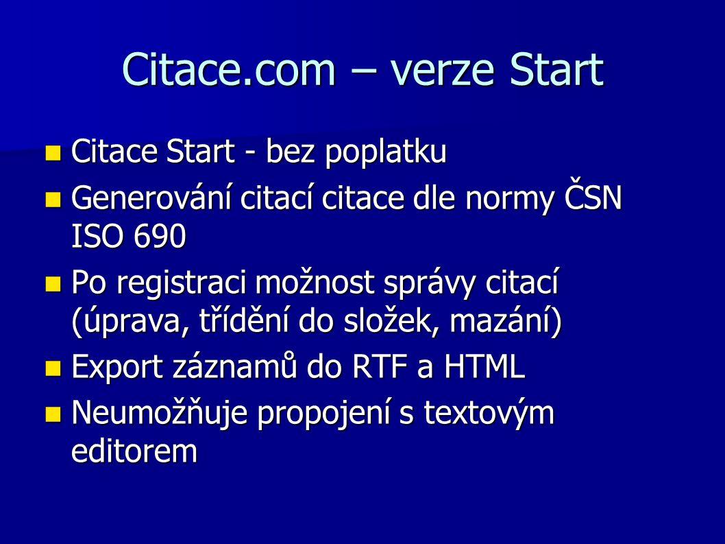 Citace.com – verze Start