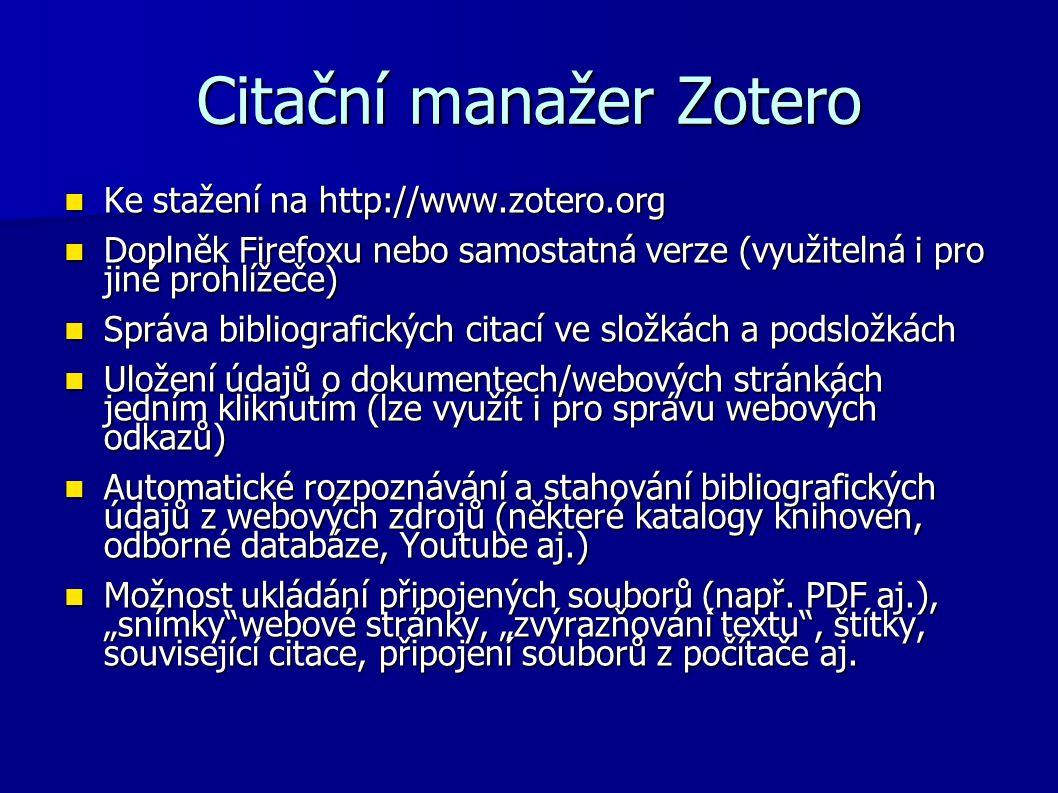 Citační manažer Zotero