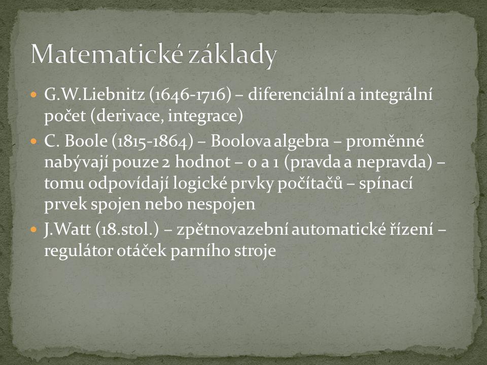 Matematické základy G.W.Liebnitz (1646-1716) – diferenciální a integrální počet (derivace, integrace)