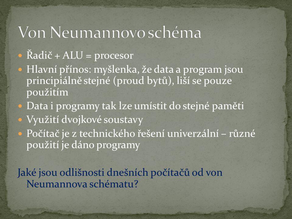 Von Neumannovo schéma Řadič + ALU = procesor