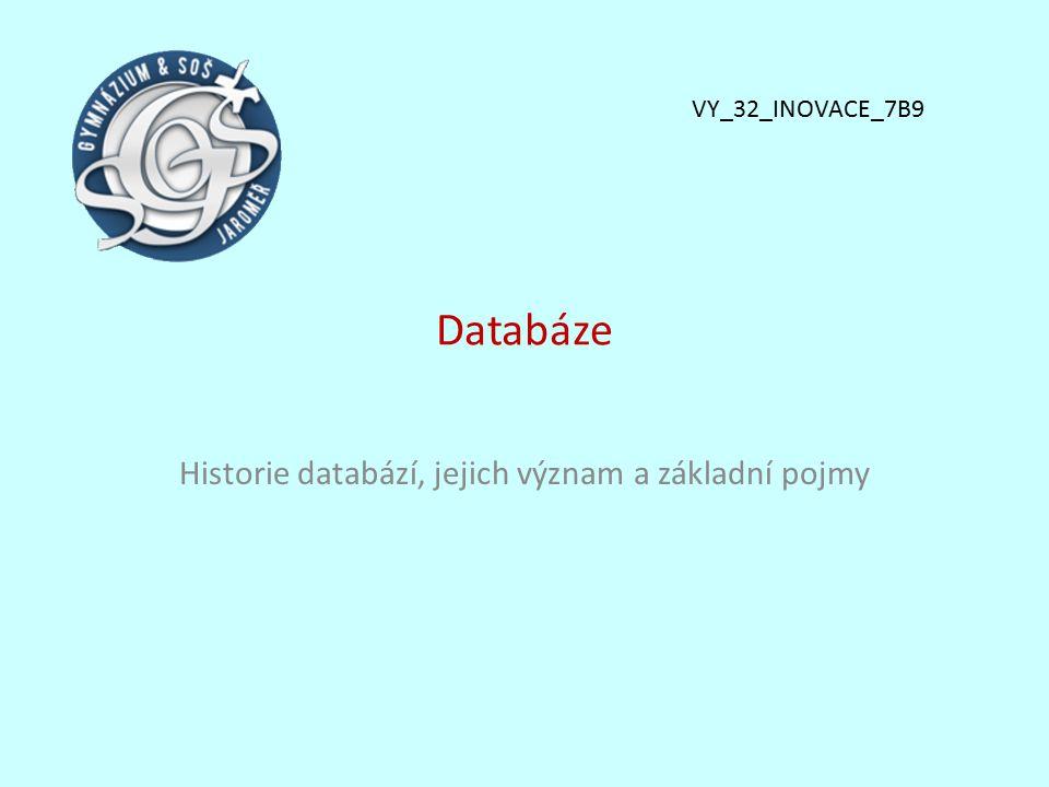 Historie databází, jejich význam a základní pojmy