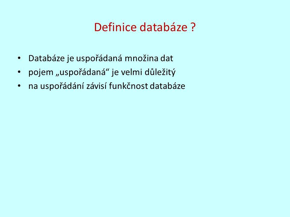 Definice databáze Databáze je uspořádaná množina dat