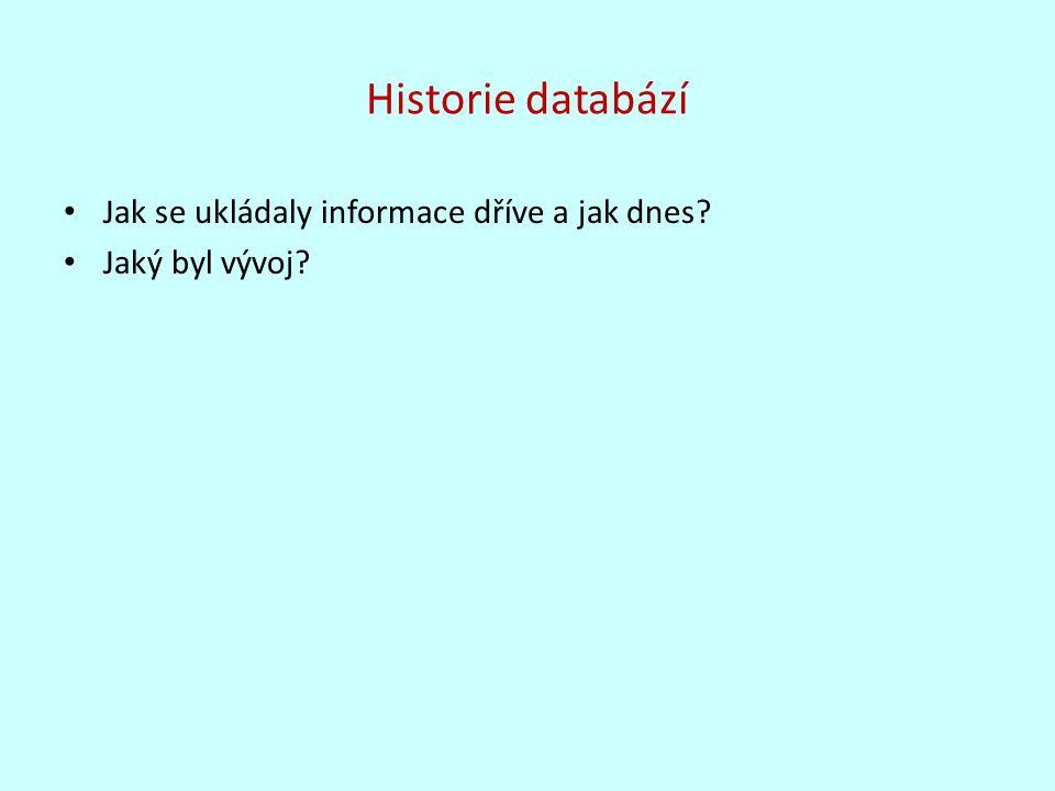Historie databází Jak se ukládaly informace dříve a jak dnes