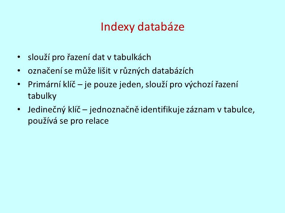 Indexy databáze slouží pro řazení dat v tabulkách