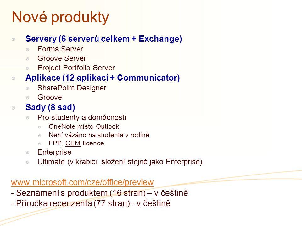 Nové produkty Servery (6 serverů celkem + Exchange)