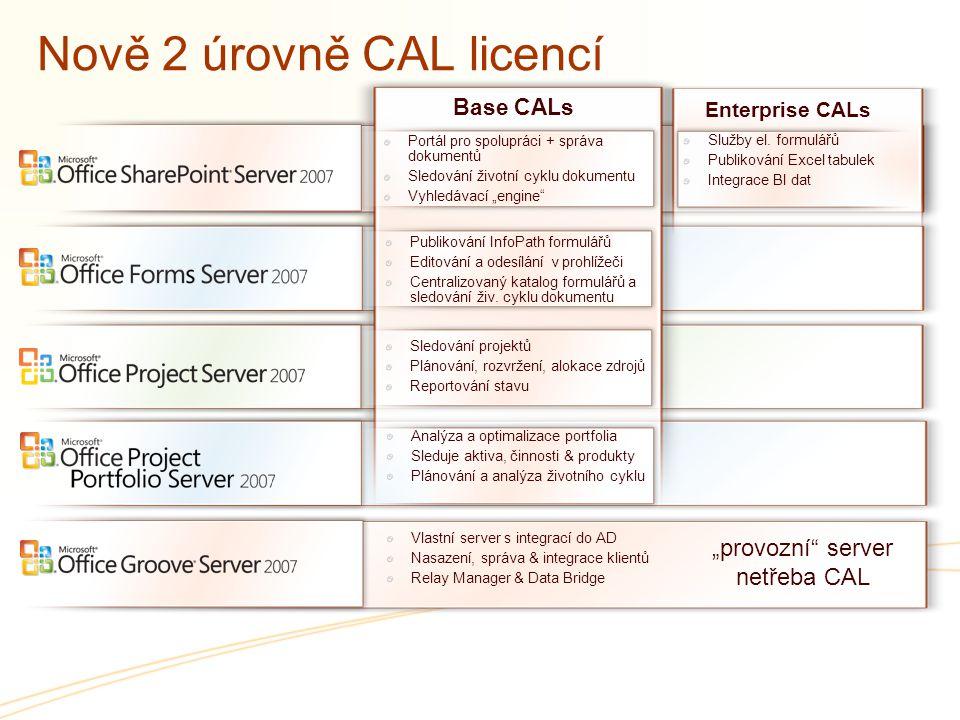 Nově 2 úrovně CAL licencí