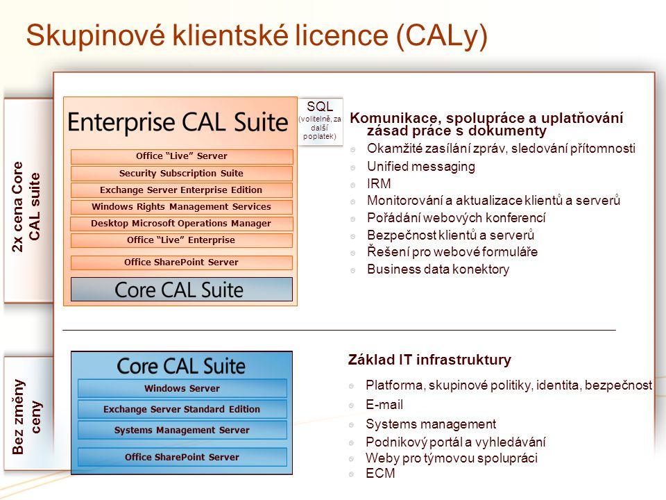 Skupinové klientské licence (CALy)
