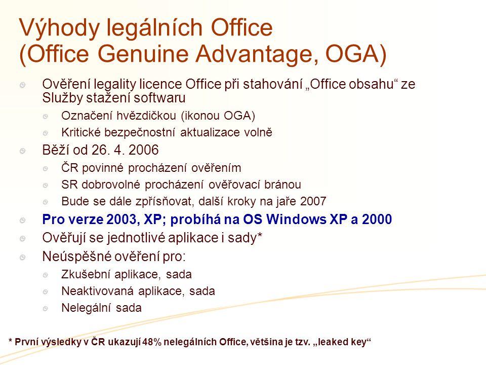 Výhody legálních Office (Office Genuine Advantage, OGA)