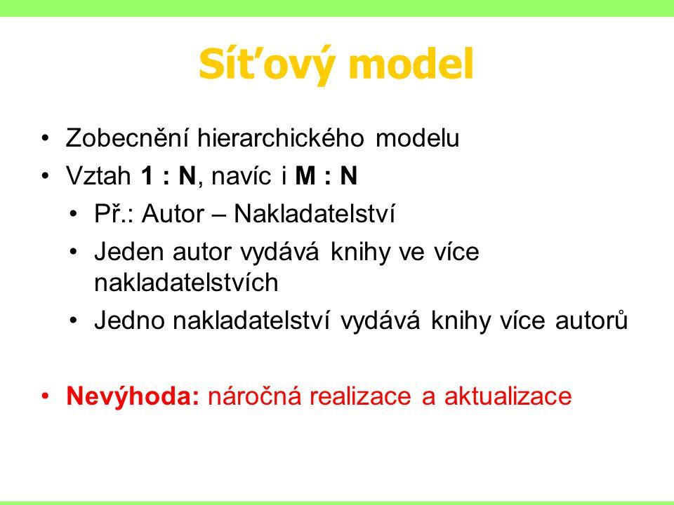 Síťový model Zobecnění hierarchického modelu
