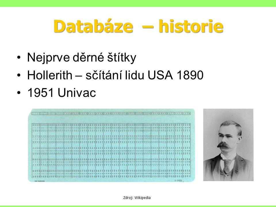 Databáze – historie Nejprve děrné štítky